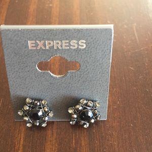Express Gray & Black Crystal Post Back Earrings